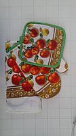 Подарочный набор для кухни прихватка, рукавичка, полотенце с яблоками