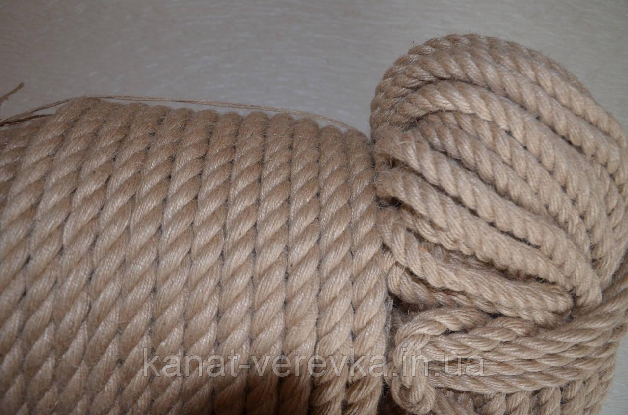 Канат джутовый 16 мм. (веревка джутовая)