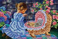 """Рисунок на ткани для вышивания бисером """"Дочки-матери"""""""
