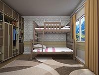 Двухъярусная кровать Комби 2 натуральное дерево