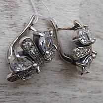 Шикарные серебряные серьги со вставками из прозрачного фианита, фото 2