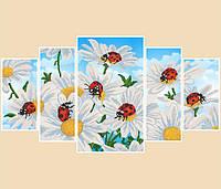 """Рисунок на ткани для вышивания бисером """"Ромашки, полиптих из 5 частей"""""""