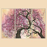 """Рисунок на ткани для вышивания бисером """"Сакура, полиптих из 3 частей"""""""