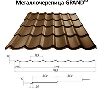 Металлочерепица матовая Grand 0.5мм Германия, фото 1