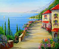 «Городок у моря» картина маслом