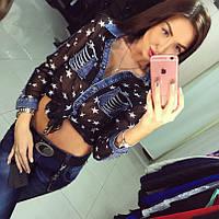 Женская рубашка креп-шифон+джинс черная DB-295