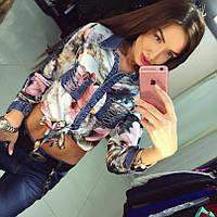 Женская рубашка креп-шифон+джинс цветная DB-296