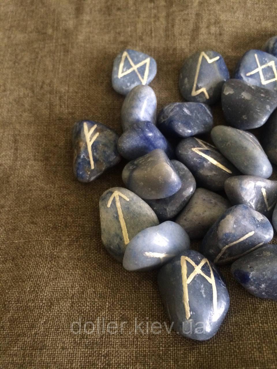 Руны из камня, 25 символов. Голубой кварц