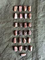 Руны из камня, 25 символов (L). Лунный камень. Premium Quality.