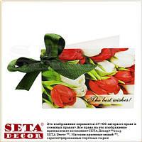 """Мини Открытка """"Красные тюльпаны"""" с бантиком поздравительная"""