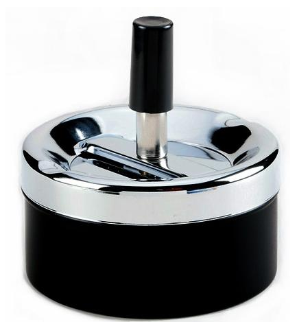 Пепельница 02121 (40044) металл/хром/черный/матовый, д=9 см