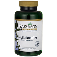 Глютамин аминокислота L-Glutamine, Swanson, 500 мг, 100 капсул