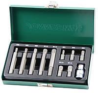 Набор вставок (бит) Spline М-профиль (30 и 75 мм), М5-М12, 11 предметов  Jonnnesway S29H4111S