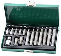 Набор вставок (бит) шестигранных (30 и 75 мм) 4-12 мм, 15 предметов  Jonnnesway S29H4115S