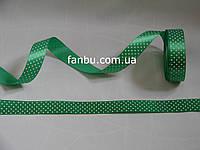 Лента атласная зеленая  в белый горох (ширина 2.5см