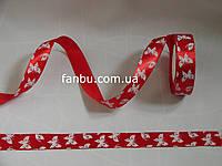 Лента атласная красная с белыми бабочками (ширина 2.5см