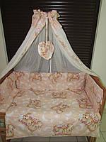 """Постельный набор в детскую кроватку"""" Мишульки спят крупные"""" персик 8 ел."""