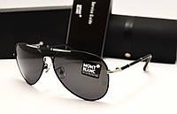 Мужские солнцезащитные очки Montblanc 375 цвет черный с серебром