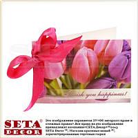 """Мини Открытка """"Розовые тюльпаны"""" с бантиком поздравительная"""