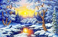"""Рисунок на ткани для вышивания бисером """"Зимний лес"""""""