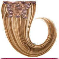 Натуральные европейские волосы на заколках 60 см 120 грамм, Мелированные №12/613