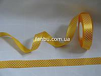 Лента атласная желтая в белый горох (ширина 2.5см
