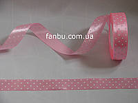 Лента атласная светло розовая в белый горох (ширина 2.5см