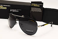 Мужские солнцезащитные очки Porsche Design цвет черный с серебром, фото 1