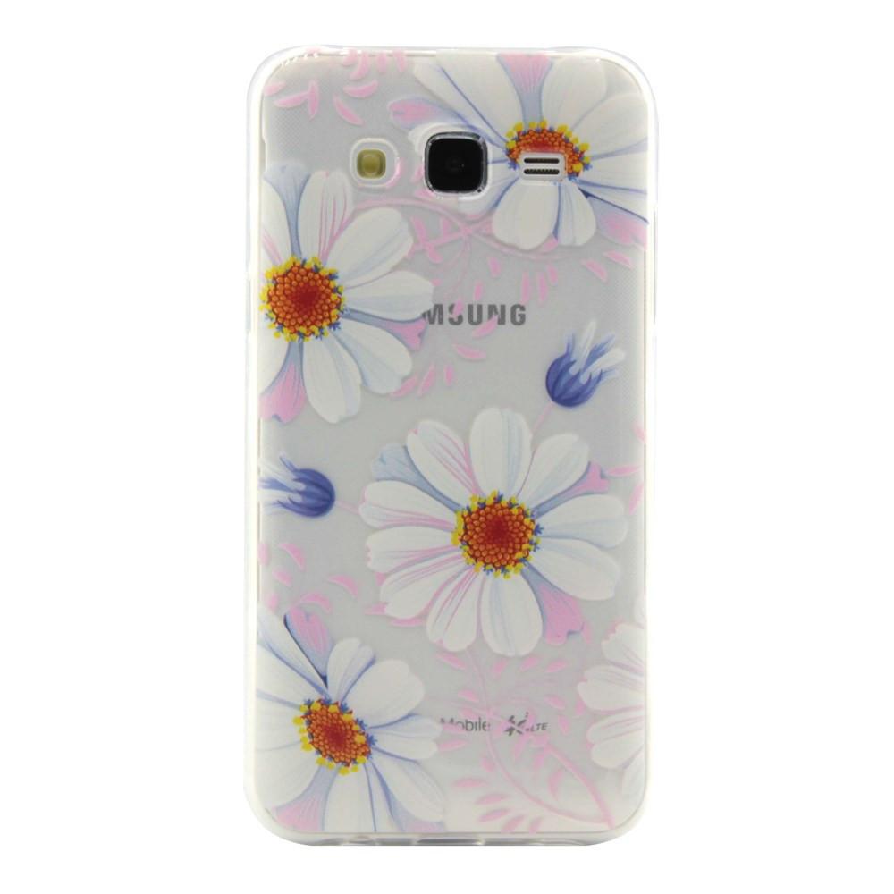 Чехол на Samsung Galaxy J5 J500H накладка силиконовый ультратонкий, Ромашки