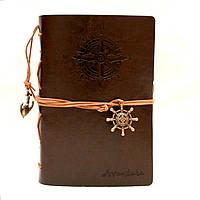 Винтажный стильный блокнот Aventura морская тематика (темно-коричневый)