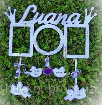 Рамка для фото с именем Luana. Детская метрика