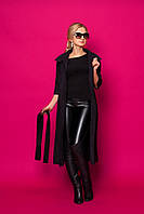 Модное  пальто-кардиган из замшевого неопрена