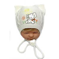 Детская шапочка на мальчика со слоником и ушками