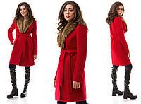Пальто женское кашемировое с мехом - Красный