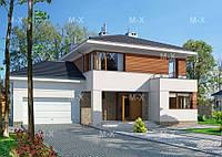 MS207. Современный двухэтажный дом с комбинированной облицовкой