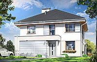 MS210. Стильный двухэтажный коттедж со встроенным гаражом и террасой
