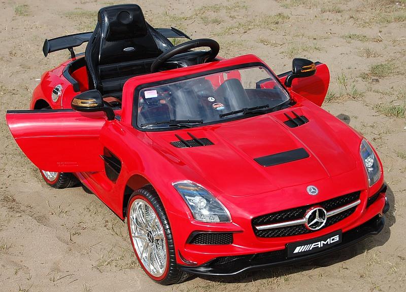 Детский Электромобиль Mercedes M 2760 EBR-3 красный, колеса EVA, ручка для транспортировки, пульт Bluetooth