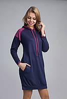 Ультрамодная молодежная туника-платье в синем цвете свободного кроя