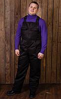 """Мужские рабочие зимние брюки (полукомбенезон) """"Тайфун"""" черный"""