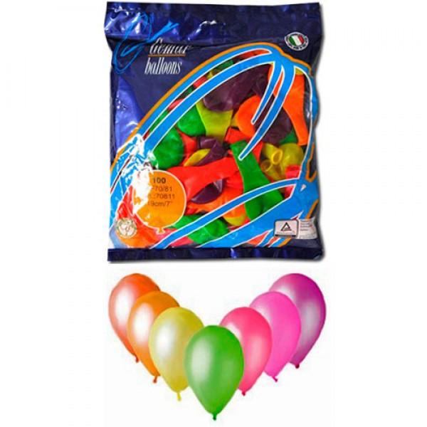 Воздушные шары 19 см неон ассорти