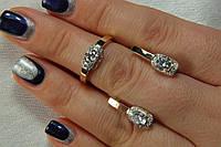 Комплект серебряных украшений - серьги и кольцо с золотом и фианитами