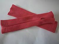 Митенки вязанные женские .Цвет коралл .