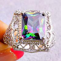 Кольцо-перстень радужный топаз