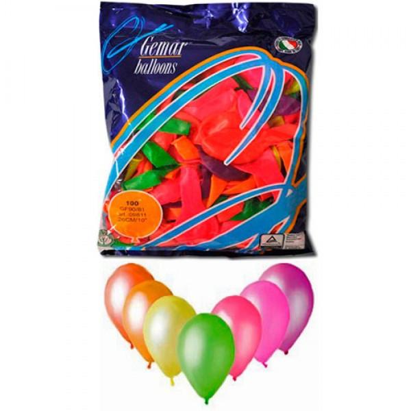 Воздушные шары 26 см неон ассорти 09811