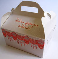 Коробки для подарков гостям и каравая красная с глиттером