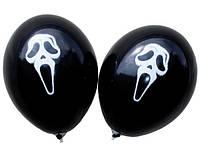 """Воздушные шарики маска крик пастель черная шелкография 12"""" (30 см)  ТМ Gemar"""