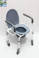 Стул для туалета на колесах с откидным подлокотником