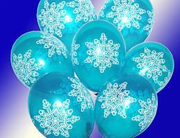"""Воздушные шарики Снежинка Большая кристалл синие шелкография 12""""(30 см)  ТМ Gemar"""