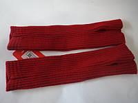 Митенки вязанные.Цвет темно красный.