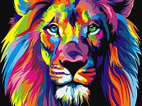 """VK 001 """"Радужный лев"""" Роспись по номерам на холсте 40x30см"""